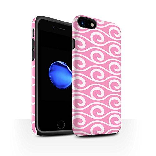 STUFF4 Matte Harten Stoßfest Hülle / Case für Apple iPhone 8 / Violett Muster / Wellenmuster Kollektion Rosa