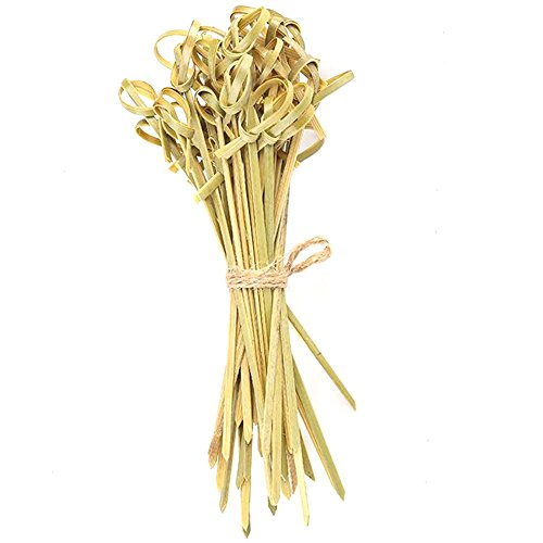 Bambus-stick (Ainstsk Multifunktions-100Geschirr Umweltfreundlich Küche Zubehör Bambus Stick Knoten Spieße Einweg, Bambus Cocktail Sticks Sandwich Obst Zahnstocher Cocktail Picks Party Supplies, grün, 15cm/5.91)
