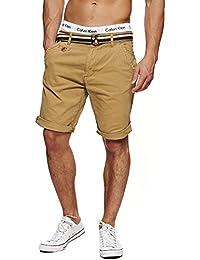 INDICODE Herren Cuba Shorts Bermuda kurze Hose inkl. Gürtel S M L XL XXL 3XL