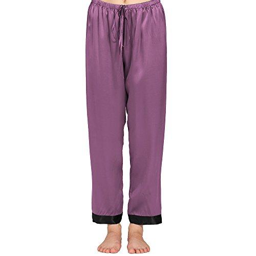 Lilysilk Pantalon Fluide en Soie 22 Momme Liseré Noir Bas de Pyjama Femme 100% Soie Violet