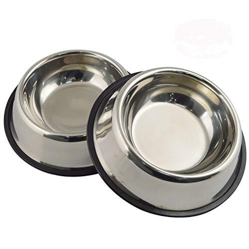 Gamelle MLife en acier inoxydable avec base en caoutchouc pour chiens de petite et moyenne taille, animaux de compagnie, bols de nourriture et de l'eau, choix parfaits (lot de 2)