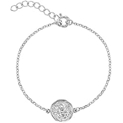 In Season Jewelry - Enfants - Bracelet - Argent 925/1000 - Médaille Ange Guardien - 14 cm