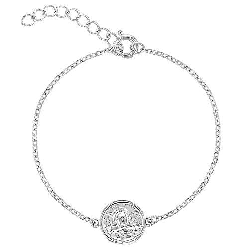 In Season Jewelry Säugling Mädchen - Armband Schutzengel Medaille 925 Sterling Silber 13cm