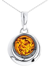 Ornami Silver Ladies' Round Amber Set Moon Shape Pendant and 46cm Curb Chain