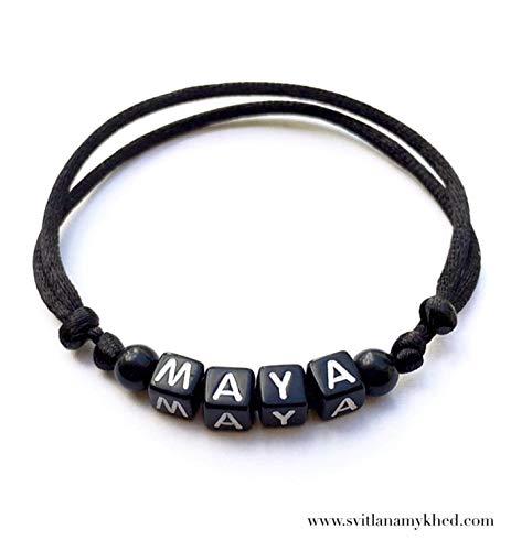 Armband personalisiertes MAYA mit dem Buchstaben des Alphabets; Schmuck mit Namen, Nachricht, Logo, Initiale (reversibel, anpassbar) für Mann, Frau, Kind, Baby, Neugeborenes. - Tag-alphabet