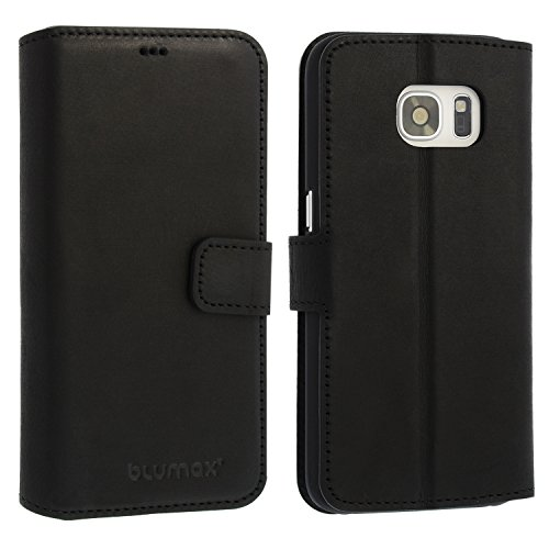 Galaxy S7 Lederhülle / Ledertasche / Hülle / Case / Cover / Etui / Tasche von Blumax für Samsung aus echtem Leder Antik Schwarz für 5.1 Zoll mit Kartenfächern - mit Magnetverschluss
