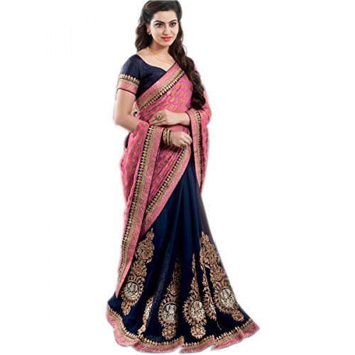 Florence Women's Blue & Pink Viscose & Georgette Embroidery Party Wear Saree...