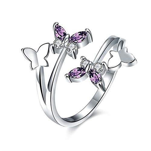 Daawqee Damen-Ring, New Adjustable Butterfly Crystal Wings Ring for Women Love Jewelry Girls Trendy Wedding Bands Fashion Party Finger Rings Platinum Rings Resizable
