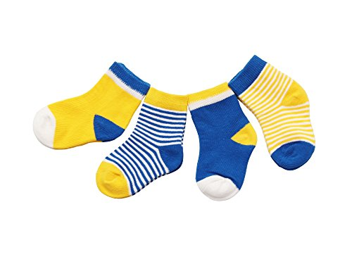DEBAIJIA DEBAIJIA 4 Paare Babysocken Baumwolle 0-6 Monate Mädchen Junge Lieblich Socken Dünn Weich Bunt - Gelb/Blau