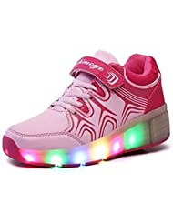 SGoodshoes LED Zapatillas Deporte Patín Ruedas Luminoso Formadores Flying Heelys Niños LED con un adulto Rueda Intermitente Zapatos