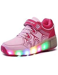 SGoodshoes LED Zapatillas Deporte Patín Ruedas Luminoso Formadores Flying Heelys Niños LED con un adulto Rueda Intermitente Zapatos