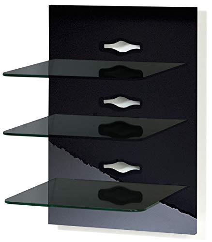 VCM Paneel Hifi Halterung Receiver DVD-Player Möbel Konsole Wandregal Regal Schwarz/Schwarzglas