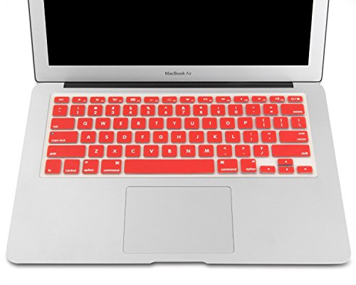 """Heartly Premium Soft Silicone Keyboard Skin Crystal Guard Protector Cover For MacBook 13"""" / 13.3"""" / 15"""" / 17"""" inch Hot Red"""