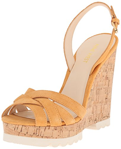 Nine West Kindeyes Suede Sandali con zeppa Dark Yellow