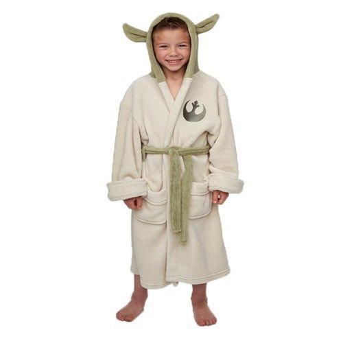 Star Wars - Accappatoio per bambini di Maestro Yoda - Licenza ufficiale di Guerre Stellari - Poliestere - Verde e crema - M