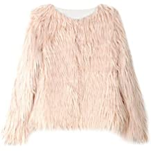 Proumy - Abrigo de pelo sintético grueso para mujer, abrigo cálido de invierno