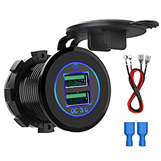 CHGeek Quick Charge 3.0 Dual USB Charger Socket Waterproof Aluminum Power Outlet with Wire in-line 10A Fuse for 12V/24V Car Boat Marine ATV Bus Truck