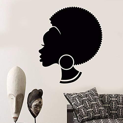 too Abstrakte Afrikanische Frau Wandaufkleber Abnehmbare Frisur Schwarz Mädchen Wandkunst Wand Salon Shop Design Decor AY582-51x42cm ()
