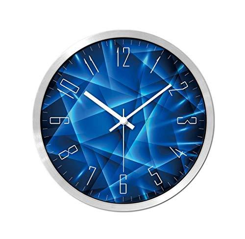 KISlink Reloj de Pared de la cancha de Baloncesto, Sala de niños Bar Piscina Sala de Juegos Reloj de Pared Marco de Metal Circular Reloj de Pared 30.5-35.5CM Práctico y de precisión (Color: Plateado
