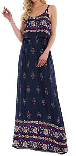 KorMei Damen Sommerkleid Ärmellos Boho A-Line Lang Kleid Maxikleid Party Strandkleid Blau XL
