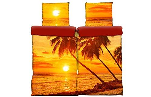 Strand, Bettwäsche (4 tlg Wende Bettwäsche Strand beach 135x200 cm Mako Satin Baumwolle 3D)