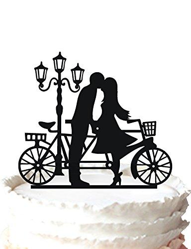 kaishihui Hochzeit Cake Topper, Braut und Groom Kissing Hinter Fahrrad - Fahrrad Hochzeit