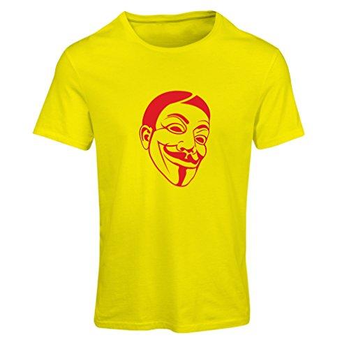 lepni.me Frauen T-Shirt Anonyme Freiheitskämpfer, V für Vendetta, Guy Fawkes Maske (XX-Large Rot Gelb) -