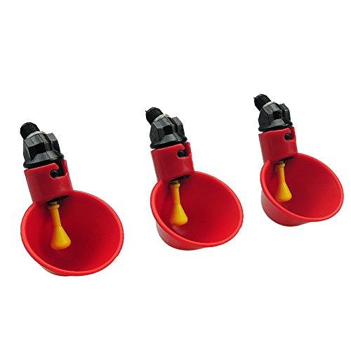 Farm & Ranch Automatische Huhn/Geflügel Trinker/WATERERS mit Bewässerung Cups Schalen rot Kunststoff Backyards Huhn Flock Ente Vogel Wasser Feeder (4Tassen mit Hardware)