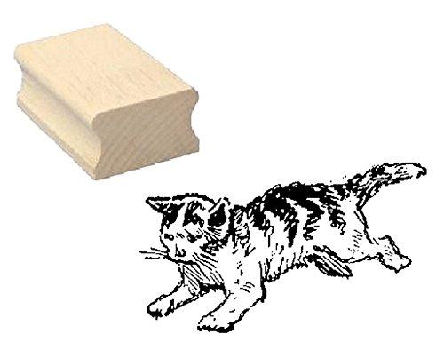 Stempel Holzstempel Motivstempel « gestreifte KATZE » Scrapbooking - Embossing Kinderstempel Tierstempel Haustier Kater Kätzchen (Gestreifte Kätzchen)
