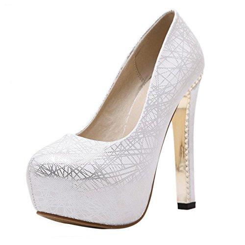 TAOFFEN Damen Mode High Heel Schuhe Blockabsatz Party Pumps Silber
