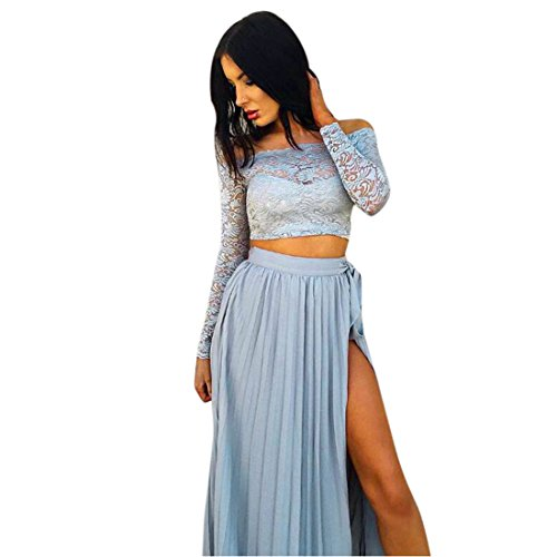 kleid damen Kolylong ® 1 Set Frau sommer elegante Aus der Schulter spitze langes kleid Spitzenoberteile + Rock Partykleid Strandkleid Abendkleid (M, Blau)