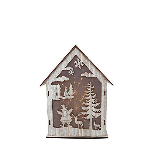 Blauth Weihnachtsbeleuchtung Weihnachtsdeko Holz Haus beleuchtet mit Schneemann