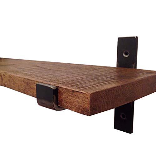 LIANGLIANG Wandregal Retro-Industrie-Metall-Design-Speicher Kreative Kombination Kleine Display-Ständer Multifunktions-Massivholz, 5 Größen (Farbe : SCHWARZ, größe : 60x20x2cm)