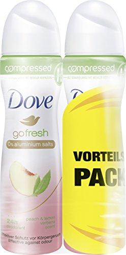 Dove Deospray go fresh Pfirsich- und Zitronenverbenenduft ohne Aluminium Compressed, Doppelpack (2 x 75 ml) (Dove Mix)