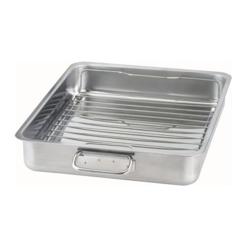 IKEA KONCIS - Roasting tin with grill rack, stainless steel - 40x32 cm