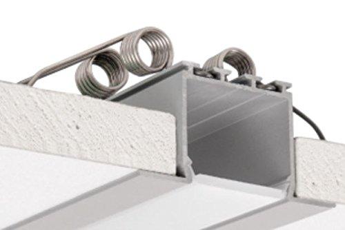 C2Architektonische Profile für Deckenleuchte und Trockenbau, eloxiert, silber, Set mit milchig Diffusor und 4Montage Spring