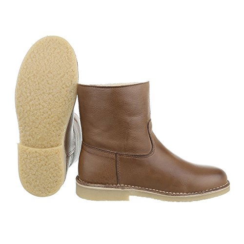 Botas Ital Tornozelo Couro Confortáveis No Vendas Femininos Marrom Em design De Escorregar botas De Bloco Calçados w6w8FU
