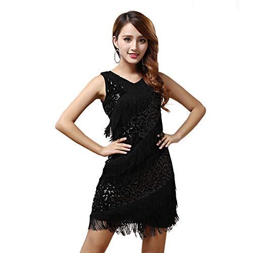 SymbolLife Fransenkleid mit Pailletten Latein Tanzkleid Salsa Tango Cha Cha Partykleid Charleston Kleider Kleid Darbietungen Tanzkostüme (Schwarz)
