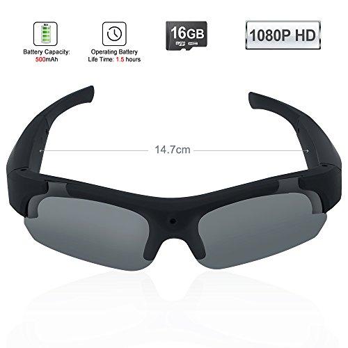 TEKMAGIC 16GB 1920×1080P HD Gafas de Sol con una Cámara Espía Eyewear Videocámara DV Soporte de la Grabación de Audio y Tomar Fotos
