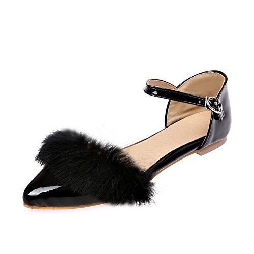 VogueZone009 Femme Couleur Unie Pu Cuir à Talon Bas Pointu Boucle Chaussures à Plat Noir