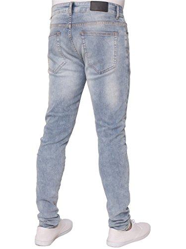 Herren ENZO Super Skinny Stretch Zerrissen Schwarz Acid Wash, Blau Acid Wash And Leicht Stein Gewaschen Denim Freizeit Jeans hell steinwäsche