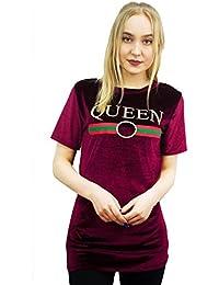 Baleza Women Ladies Short Sleeve Velvet Queen Print T Shirt Top Sz 8-14