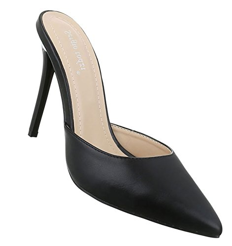 Damen Pumps Schuhe Elegant High Heels Pantoletten Schwarz