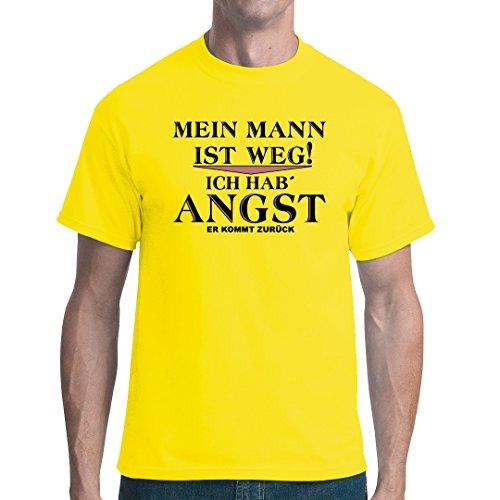 Fun Sprüche unisex T-Shirt - Mein Mann ist weg by Im-Shirt Gelb