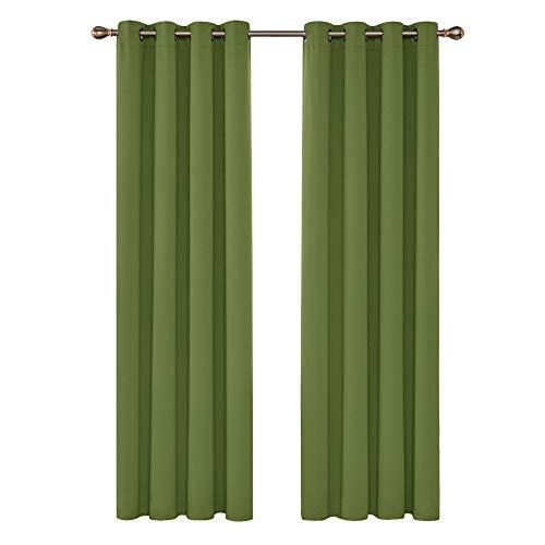 Deconovo tende oscuranti termiche isolanti con occhielli per casa moderne 140x260 cm verde 2 pannelli