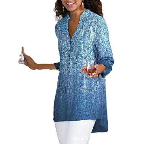 Tiered Tunic Top (CuteRose Women's Plus-Size Long-Sleeve Floral Print Casual Mid Long Shirt Blouse Blue XL)