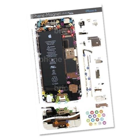 Patron magnétique d'aide au montage pas à pas pour iPhone 6 pour ne plus perdre vos vis et les petits élements lors vos réparations. Un Produit exclusif
