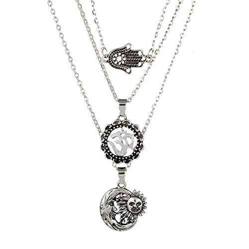 Youkara Damen-Halskette Retro-Kombination Palme Sonne Mond Sterne mehrlagig Halskette Anhänger Schmuck für Frauen Geschenk für Mama