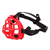 LvRao Pet Puppy Breathable Silicone Basket Dog Muzzles Mask Anti Bite Bark (Red, 2)