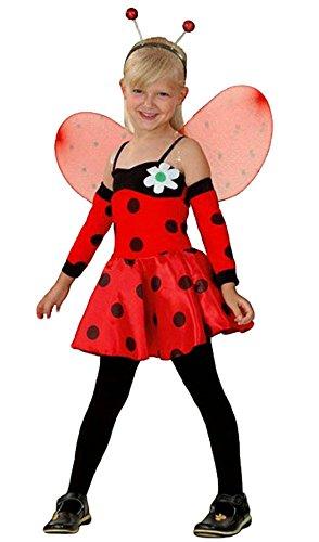 Kostüme Bee Bumble Mädchen (erdbeerloft- Mädchen Kinderkostüm Tierkostüm- Marienkäfer Kleid mit Flügeln, schwarz rot, 4-5)